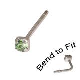 Crystal Nose Stud (Bend to fit) (ST11 ST12 ST13) 2.0mm Gem, Light Green, Single Bend-to-Fit Stud (ST12)