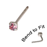 Crystal Nose Stud (Bend to fit) (ST11 ST12 ST13) 2.0mm Gem, Pink, Single Bend-to-Fit Stud (ST12)
