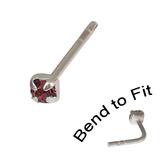 Crystal Nose Stud (Bend to fit) (ST11 ST12 ST13) 2.0mm Gem, Purple, Single Bend-to-Fit Stud (ST12)