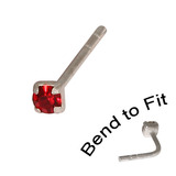 Crystal Nose Stud (Bend to fit) (ST11 ST12 ST13) 2.0mm Gem, Red, Single Bend-to-Fit Stud (ST12)