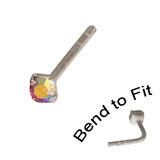 Crystal Nose Stud (Bend to fit) (ST11 ST12 ST13) 2.0mm Gem, Rose AB, Single Bend-to-Fit Stud (ST12)