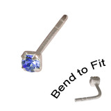 Crystal Nose Stud (Bend to fit) (ST11 ST12 ST13) 2.0mm Gem, Sapphire Blue, Single Bend-to-Fit Stud (ST12)