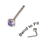 Crystal Nose Stud (Bend to fit) (ST11 ST12 ST13) 2.0mm Gem, Tanzanite, Single Bend-to-Fit Stud (ST12)