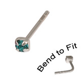 Crystal Nose Stud (Bend to fit) (ST11 ST12 ST13) 2.0mm Gem, Turquoise, Single Bend-to-Fit Stud (ST12)