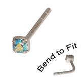 Crystal Nose Stud (Bend to fit) (ST11 ST12 ST13) 2.5mm Gem, Aqua AB, Single Bend-to-Fit Stud (ST13)