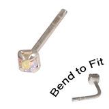 Crystal Nose Stud (Bend to fit) (ST11 ST12 ST13) 2.5mm Gem, Crystal AB, Single Bend-to-Fit Stud (ST13)