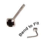 Crystal Nose Stud (Bend to fit) (ST11 ST12 ST13) 2.5mm Gem, Jet Black, Single Bend-to-Fit Stud (ST13)
