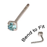 Crystal Nose Stud (Bend to fit) (ST11 ST12 ST13) 2.5mm Gem, Light Blue, Single Bend-to-Fit Stud (ST13)