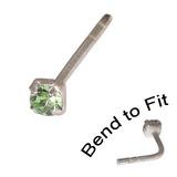 Crystal Nose Stud (Bend to fit) (ST11 ST12 ST13) 2.5mm Gem, Light Green, Single Bend-to-Fit Stud (ST13)