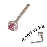 Crystal Nose Stud (Bend to fit) (ST11 ST12 ST13) 2.5mm Gem, Pink, Single Bend-to-Fit Stud (ST13)