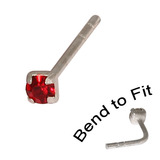 Crystal Nose Stud (Bend to fit) (ST11 ST12 ST13) 2.5mm Gem, Red, Single Bend-to-Fit Stud (ST13)