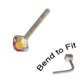 Crystal Nose Stud (Bend to fit) (ST11 ST12 ST13) 2.5mm Gem, Rose AB, Single Bend-to-Fit Stud (ST13)