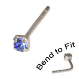Crystal Nose Stud (Bend to fit) (ST11 ST12 ST13) 2.5mm Gem, Sapphire Blue, Single Bend-to-Fit Stud (ST13)