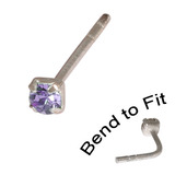 Crystal Nose Stud (Bend to fit) (ST11 ST12 ST13) 2.5mm Gem, Tanzanite, Single Bend-to-Fit Stud (ST13)