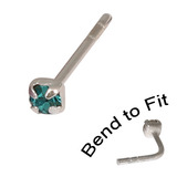 Crystal Nose Stud (Bend to fit) (ST11 ST12 ST13) 2.5mm Gem, Turquoise, Single Bend-to-Fit Stud (ST13)