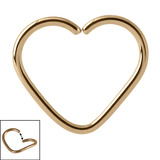 Zircon Steel Continuous Heart Rings (Gold colour PVD) 1.0mm, 10mm