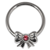 Steel BCR with Steel Jewelled Bow - Nipple Ring 1.6mm, 16mm, Pink