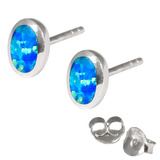 Silver Stud Earrings with Synthetic Opal Oval (7.5mm at widest)