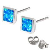 Silver Stud Earrings with Synthetic Opal Square (6.5mm across)