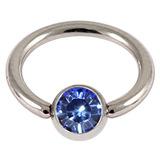 Steel Jewelled BCR 1.0mm Sapphire Blue / 6