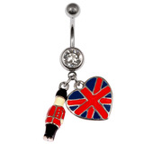 Belly Bar - Palace Guardsman Union Jack Flag Dangly 1.6mm x 10mm (Standard Size)
