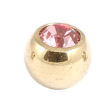 Zircon Steel Jewelled Balls 1.2mm (Gold colour PVD) 1.2mm, 3mm, Light Pink