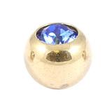 Zircon Steel Jewelled Balls 1.2mm (Gold colour PVD) 1.2mm, 3mm, Sapphire