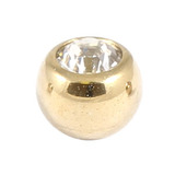 Zircon Steel Jewelled Balls 1.2mm (Gold colour PVD) 1.2mm, 3mm, Crystal Clear