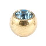 Zircon Steel Jewelled Balls 1.2mm (Gold colour PVD) 1.2mm, 3mm, Light Blue