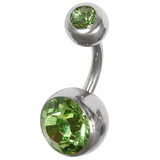 Steel Jewelled Mega Belly Bar 1.6x8mm Double Jewelled Light Green