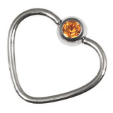 Steel Jewelled Continuous Heart Rings 1 / 10 / Amber