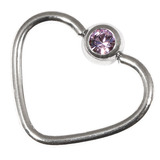 Steel Jewelled Continuous Heart Rings 1 / 10 / Lilac