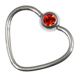 Steel Jewelled Continuous Heart Rings 1 / 10 / Orange