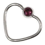 Steel Jewelled Continuous Heart Rings 1 / 10 / Purple