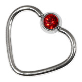 Steel Jewelled Continuous Heart Rings 1 / 10 / Red