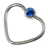 Steel Jewelled Continuous Heart Rings 1.2 / 10 / Capri Blue