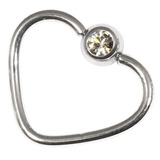 Steel Jewelled Continuous Heart Rings 1.2 / 10 / Crystal Clear