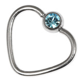 Steel Jewelled Continuous Heart Rings 1.2 / 10 / Light Blue