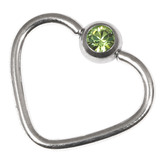 Steel Jewelled Continuous Heart Rings 1.2 / 10 / Light Green