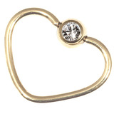 Zircon Steel Jewelled Continuous Heart Rings (Gold colour PVD) 1.0mm, 12mm, Crystal Clear