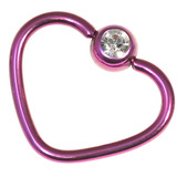 Titanium Coated Steel Jewelled Continuous Heart Rings 1mm, 10mm, Purple / Crystal Clear