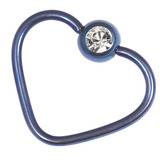 Titanium Coated Steel Jewelled Continuous Heart Rings 1.2mm, 10mm, Blue / Crystal Clear
