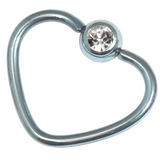 Titanium Coated Steel Jewelled Continuous Heart Rings 1.2mm, 10mm, Ice Blue / Crystal Clear