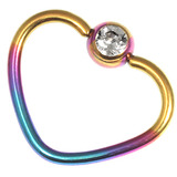 Titanium Coated Steel Jewelled Continuous Heart Rings 1.2mm, 10mm, Rainbow / Crystal Clear