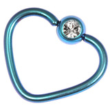 Titanium Coated Steel Jewelled Continuous Heart Rings 1.2mm, 10mm, Turquoise / Crystal Clear