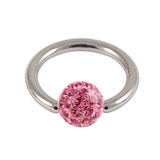 Steel BCR with Smooth Glitzy Ball 1.6mm, 6mm, Pink
