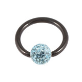 Black Steel BCR with Smooth Glitzy Ball 1.2mm, 10mm, 4mm, Light Blue