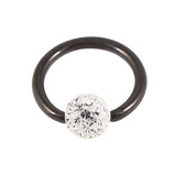 Black Steel BCR with Smooth Glitzy Ball 1.2mm, 12mm, 4mm, Crystal Clear