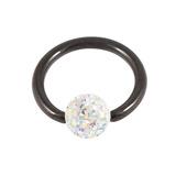 Black Steel BCR with Smooth Glitzy Ball 1.6mm, 8mm, 4mm, Crystal AB