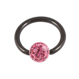 Black Steel BCR with Smooth Glitzy Ball 1.6mm, 8mm, 4mm, Pink